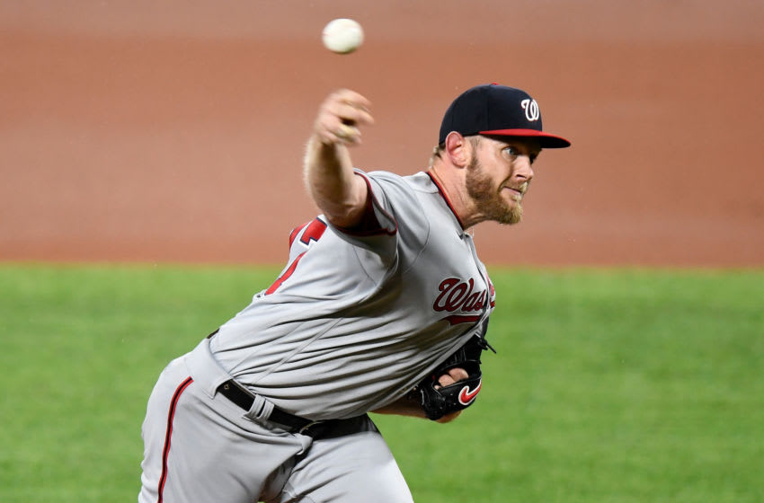 BALTIMORE, MD - AUGUST 14: Stephen Strasburg #37 of the Washington Nationals pitches in the first inning against the Baltimore Orioles at Oriole Park at Camden Yards on August 14, 2020 in Baltimore, Maryland. (Photo by G Fiume/Getty Images)