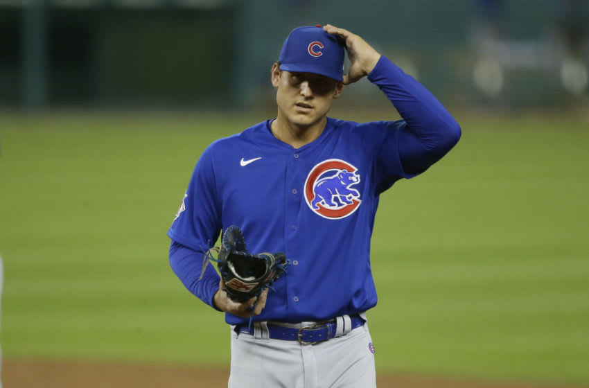 DETROIT, MI - AUGUST 24: Anthony Rizzo #44 of the Chicago Cubs during a game against the Detroit Tigers at Comerica Park on August 24, 2020, in Detroit, Michigan. (Photo by Duane Burleson/Getty Images)