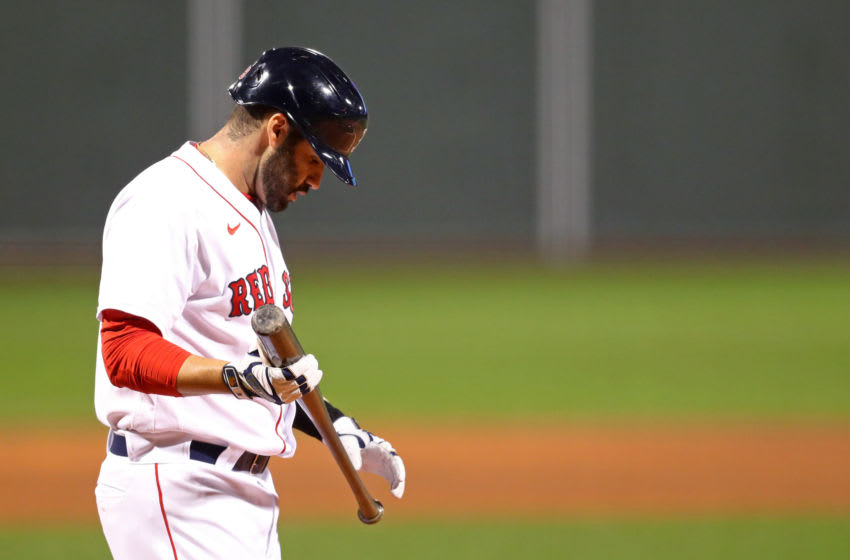 BOSTON, MASSACHUSETTS - SEPTEMBER 02: J.D. Martinez #28 of the Boston Red Sox looks on during the first inning against the Atlanta Braves at Fenway Park on September 02, 2020 in Boston, Massachusetts. (Photo by Maddie Meyer/Getty Images)