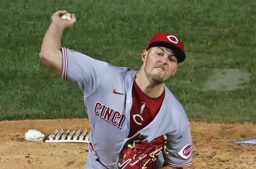 CHICAGO, ILLINOIS - SEPTEMBER 09: Starting pitcher Trevor Bauer #27 of the Cincinnati Reds delivers the ball against the Chicago Cubs at Wrigley Field on September 09, 2020 in Chicago, Illinois. (Photo by Jonathan Daniel/Getty Images)
