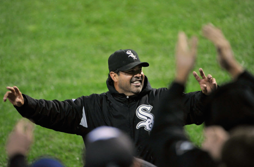 CHICAGO, IL - SEPTEMBER 26: Ozzie Guillen #13 of the Chicago White Sox waves to the crowd after the White Sox defeated the Toronto Blue Jays 4-3 at U. S. Cellular Field on September 26, 2011 in Chicago, Illinois. The White Sox agreed to Guillen's request to be released from his contract, allowing him to pursue other opportunities. (Photo by Brian Kersey/Getty Images)
