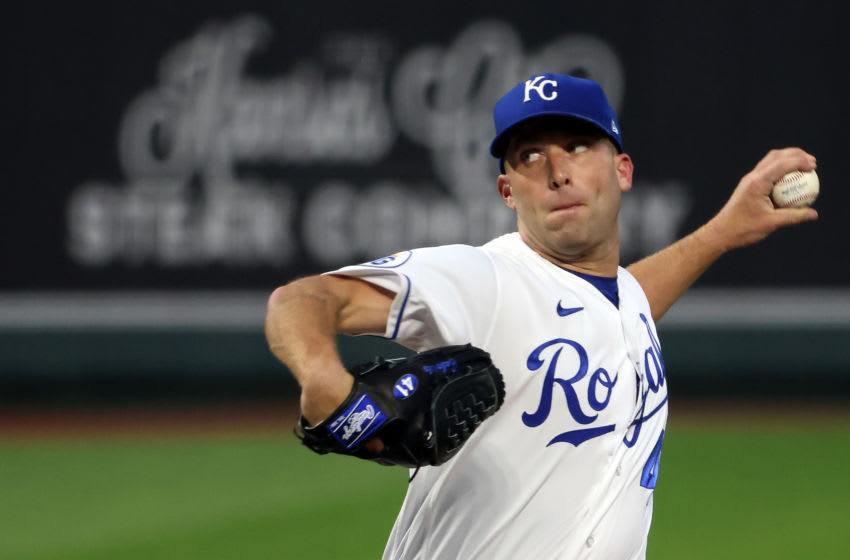 KANSAS CITY, MISSOURI - SEPTEMBER 23: Starting pitcher Danny Duffy #41 of the Kansas City Royals pitches during the 1st inning of the game against the St. Louis Cardinals at Kauffman Stadium on September 23, 2020 in Kansas City, Missouri. (Photo by Jamie Squire/Getty Images)