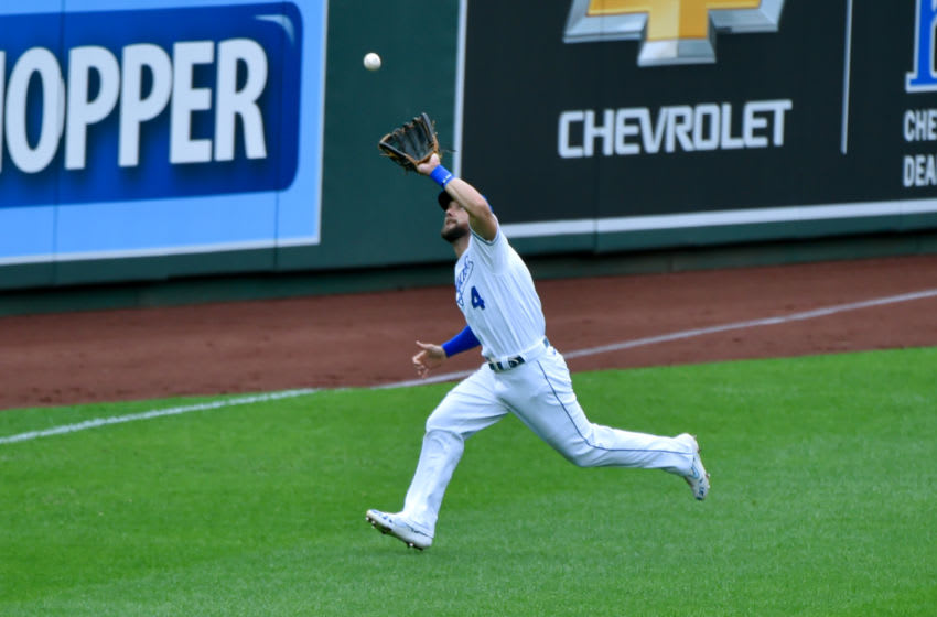 KANSAS CITY, MISSOURI - SEPTEMBER 27: Alex Gordon #4 of the Kansas City Royals catches a ball hit by Niko Goodrum #28 of the Detroit Tigers in the first inning at Kauffman Stadium on September 27, 2020 in Kansas City, Missouri. (Photo by Ed Zurga/Getty Images)