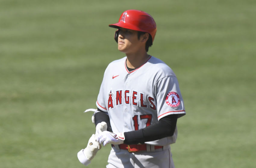 LOS ANGELES, CA - SEPTEMBER 27: Shohei Ohtani #17 of the Los Angeles Angels leaves the field after flying out against the Los Angeles Dodgers at Dodger Stadium on September 27, 2020 in Los Angeles, California. (Photo by John McCoy/Getty Images)