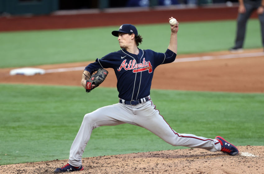 ARLINGTON, TEXAS - OCTOBER 17: Max Fried #54 of the Atlanta Braves delivers the pitch against the Los Angeles Dodgers during the seventh inning in Game Six of the National League Championship Series at Globe Life Field on October 17, 2020 in Arlington, Texas. (Photo by Tom Pennington/Getty Images)
