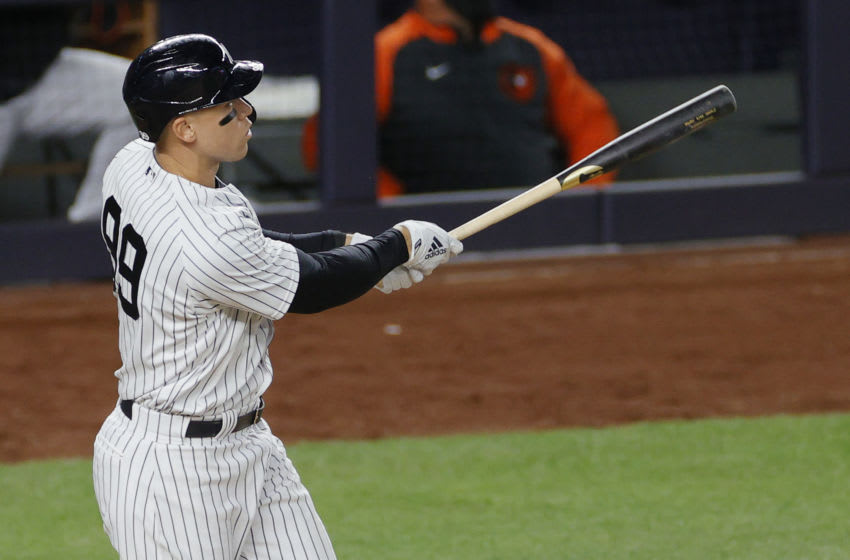 NEW YORK, NEW YORK - APRIL 06: Aaron Judge #99 of the New York Yankees reacts after hitting a three-run home run during the eighth inning against the Baltimore Orioles at Yankee Stadium on April 06, 2021 in the Bronx borough of New York City. The Yankees won 7-2. (Photo by Sarah Stier/Getty Images)