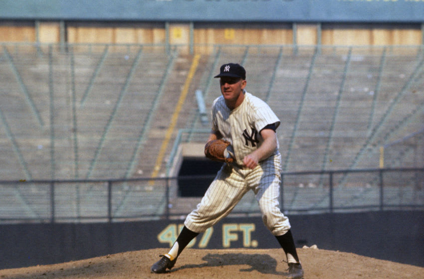 NEW YORK - CIRCA 1963: Pitcher Whitey Ford #16 of the New York Yankees pitches during an Major League Baseball game circa 1963 at Yankee Stadium in the Bronx borough of New York City. Ford played for the Yankees in 1950 and 1953-67. (Photo by Focus on Sport/Getty Images)