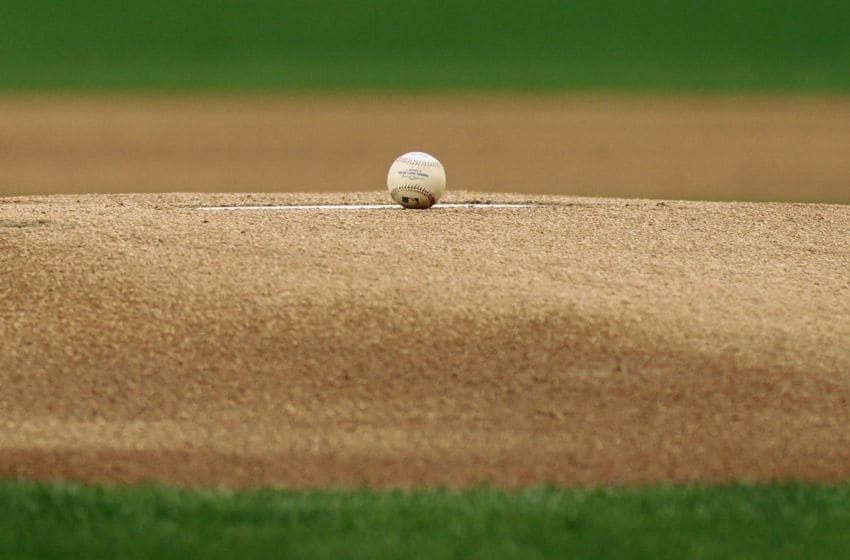 PHOENIX, AZ - APRIL 25: A baseball sits on top of the pitchers mound before the start of a MLB game between the Arizona Diamondbacks and the Pittsburgh Pirates at Chase Field on April 25, 2015 in Phoenix, Arizona. (Photo by Ralph Freso/Getty Images)