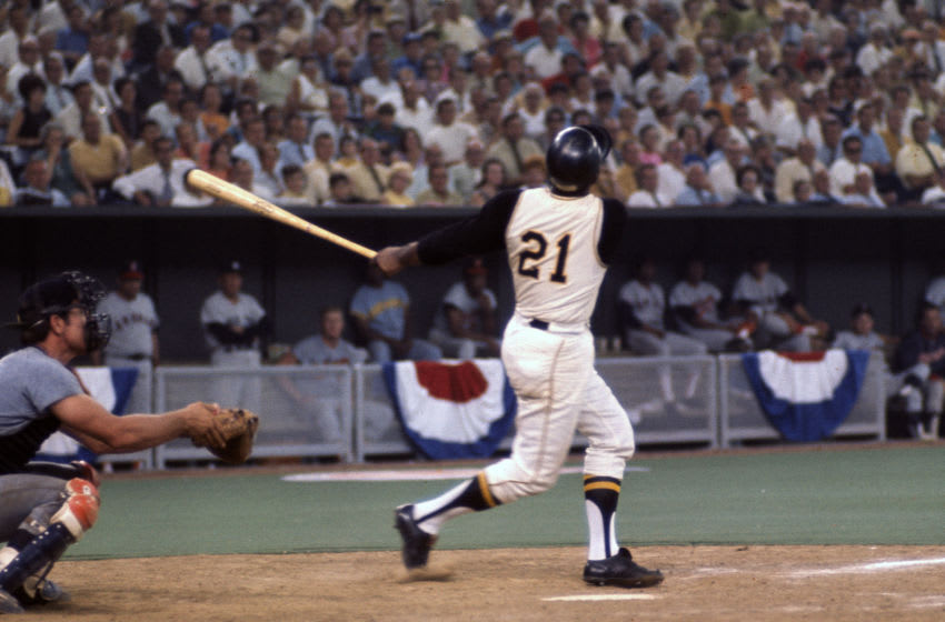 CINCINNATI, OH - JULY 14: Roberto Clemente #21 of the Pittsburgh Pirates and the National League AllStars bats against the American League All Stars during Major League Baseball AllStar game July 14, 1970 at Riverfront Stadium in Cincinnati, Ohio. The National League won the game 5-4. (Photo by Focus on Sport/Getty Images)
