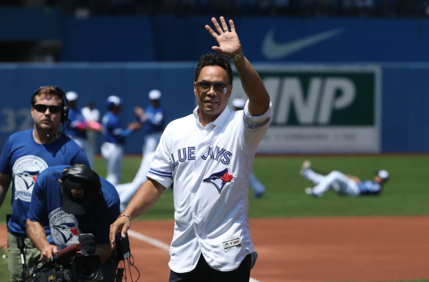 TORONTO, CANADA - MAY 29: Former player Roberto Alomar #12 of the Toronto Blue Jays is introduced during 40th anniversary celebrations before the start of MLB game action against the Boston Red Sox on May 29, 2016 at Rogers Centre in Toronto, Ontario, Canada. (Photo by Tom Szczerbowski/Getty Images)
