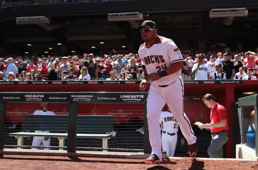 PHOENIX, AZ - APRIL 02: Yasmany Tomas #24 of the Arizona Diamondbacks runs onto the field for introductions before the MLB opening day game against the San Francisco Giants at Chase Field on April 2, 2017 in Phoenix, Arizona. (Photo by Christian Petersen/Getty Images)