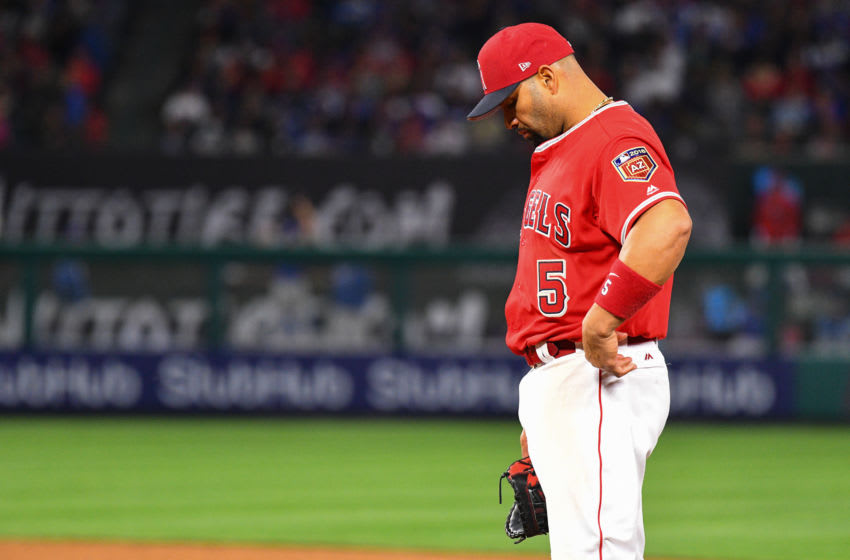 ANAHEIM, CA - MARCH 25: Los Angeles Angels of Anaheim Designated hitter Albert Pujols (5) looks on during a preseason MLB game between the Los Angeles Dodgers and the Los Angeles Angels of Anaheim on March 25, 2018 at Angel Stadium of Anaheim in Anaheim, CA. (Photo by Brian Rothmuller/Icon Sportswire via Getty Images)