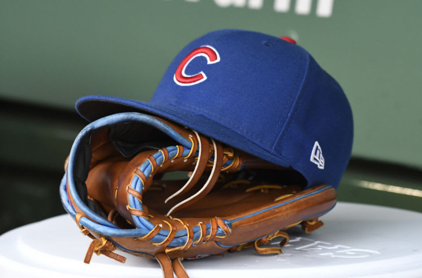 CHICAGO, IL - JUNE 10: A detail shot of the Chicago Cubs hat, glove on June 10, 2018 at Wrigley Field in Chicago, Illinois. (Photo by David Banks/Getty Images)