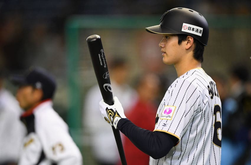 TOKYO, JAPAN - NOVEMBER 10: Designated hitter Shohei Ohtani of Japan is seen during a practice session prior to the international friendly match between Japan and Mexico at the Tokyo Dome on November 10, 2016 in Tokyo, Japan. (Photo by Masterpress/Getty Images)