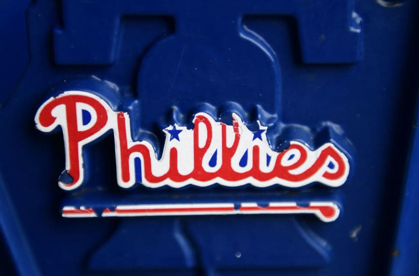 PHILADELPHIA, PA - AUGUST 29: The Phillies logo at section 108 seat 32 is shown at Citizens Bank Park on August 29, 2017 in Philadelphia, Pennsylvania. Rain cancelled the game against the Atlanta Braves and is rescheduled as a doubleheader tomorrow. (Photo by Corey Perrine/Getty Images)