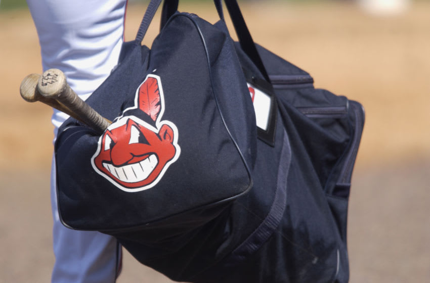 28 Feb 2002: A picture of the Cleveland Indians logo printed on a bag during the spring training game between the Minnesota Twins and the Cleveland Indians at Chain of Lakes Park in Winter Haven, Florida. The Twins won 6-4. DIGITAL IMAGE. Mandatory Credit: M. David Leeds/Getty Images