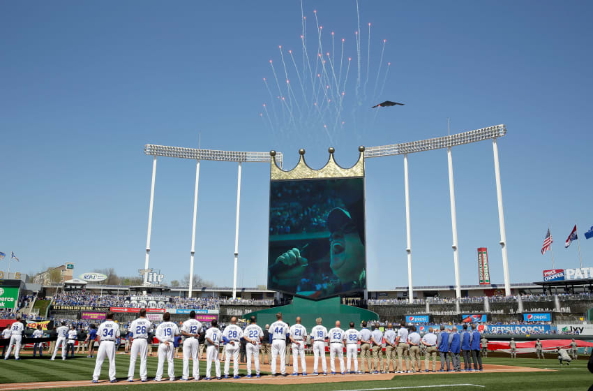 KANSAS CITY, MO - APRIL 10: A general view as a Stealth bomber performs a flyover as Melissa Etheridge sings the National Anthem ahead of the Royals 2017 home opener between the Oakland Athletics and the Kansas City Royals at Kauffman Stadium on April 10, 2017 in Kansas City, Missouri. (Photo by Jamie Squire/Getty Images)