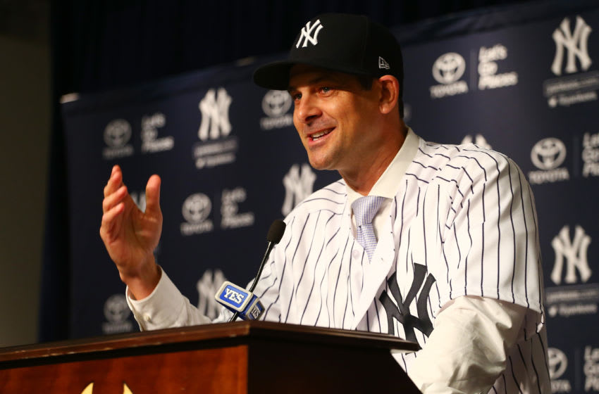 NEW YORK, NY - DECEMBER 06: Aaron Boone speaks to the media after being introduced as manager of the New York Yankees at Yankee Stadium on December 6, 2017 in the Bronx borough of New York City. (Photo by Mike Stobe/Getty Images)