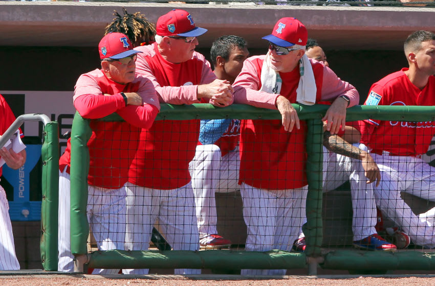 CLEARWATER, FL - MARCH 07: Former Phillies legends Larry Bowa, Charlie Manuel and Mike Schmidt catch up during the spring training game between the Boston Red Sox and the Philadelphia Phillies on March 07, 2018, at Spectrum Field in Clearwater, FL. (Photo by Cliff Welch/Icon Sportswire via Getty Images)