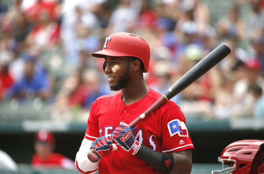 ARLINGTON, TX - AUGUST 19: Jurickson Profar #19 of the Texas Rangers stands at the plate against the Los Angeles Angels of Anaheim at Globe Life Park in Arlington on August 19, 2018 in Arlington, Texas. (Photo by Ron Jenkins/Getty Images)