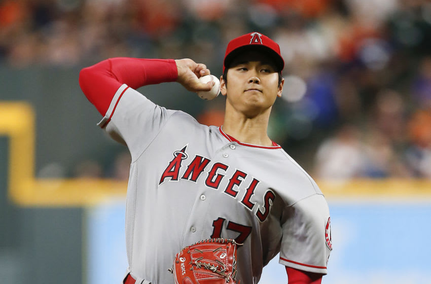HOUSTON, TX - SEPTEMBER 02: Shohei Ohtani #17 of the Los Angeles Angels of Anaheim pitches in the first inning against the Houston Astros at Minute Maid Park on September 2, 2018 in Houston, Texas. (Photo by Bob Levey/Getty Images)