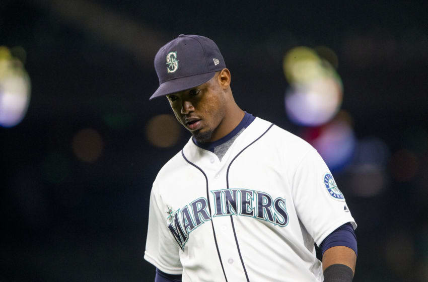 SEATTLE, WA - SEPTEMBER 04: Jean Segura #2 of the Seattle Mariners walks off the field after the top of the seventh inning, in which Baltimore Orioles scored four runs at Safeco Field on September 4, 2018 in Seattle, Washington. (Photo by Lindsey Wasson/Getty Images)