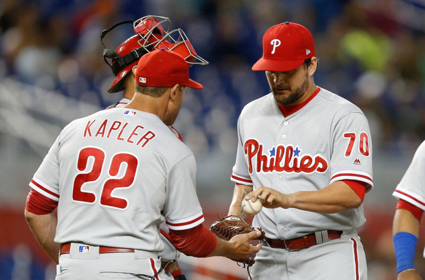 MIAMI, FL - SEPTEMBER 03: Luis Avilan #70 of the Philadelphia Phillies is taken out of the game by manager Gabe Kapler #22 against the Miami Marlins at Marlins Park on September 3, 2018 in Miami, Florida. (Photo by Michael Reaves/Getty Images)