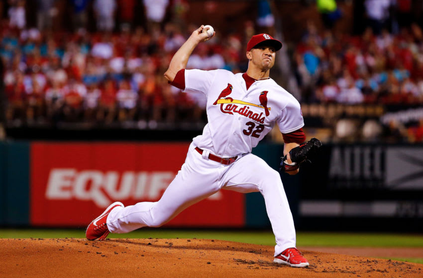 ST. LOUIS, MO - SEPTEMBER 14: Jack Flaherty #32 of the St. Louis Cardinals pitches against the Los Angeles Dodgers in the first inning at Busch Stadium on September 14, 2018 in St. Louis, Missouri. (Photo by Dilip Vishwanat/Getty Images)