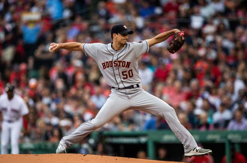 BOSTON, MA - SEPTEMBER 08: Charlie Morton #50 of the Houston Astros pitches during the game against the Boston Red Sox at Fenway Park on Saturday September 8, 2018 in Boston, Massachusetts. (Photo by Rob Tringali/SportsChrome/Getty Images)