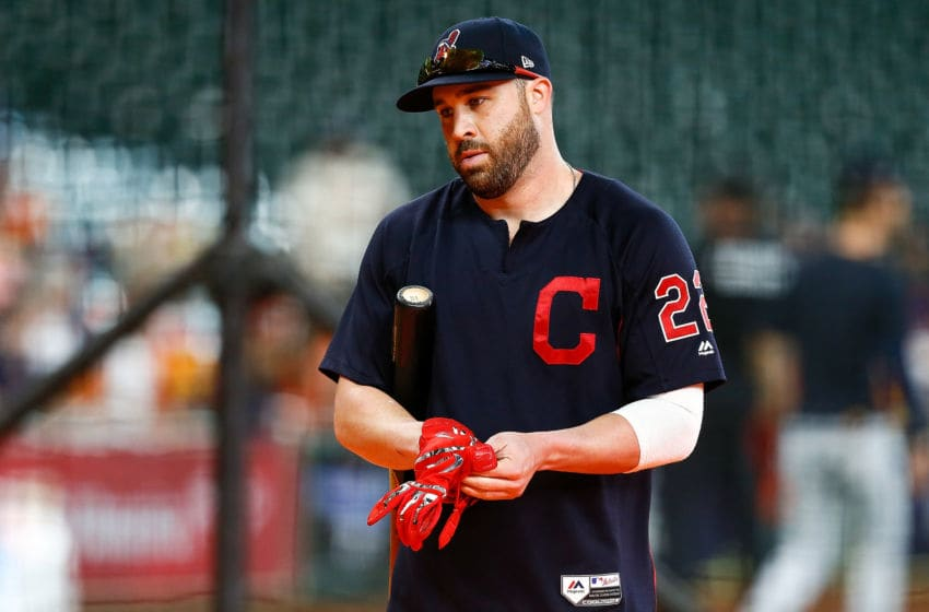 HOUSTON, TX - OCTOBER 06: Jason Kipnis #22 of the Cleveland Indians looks on during batting practice prior to Game Two of the American League Division Series against the Houston Astros at Minute Maid Park on October 6, 2018 in Houston, Texas. (Photo by Bob Levey/Getty Images)