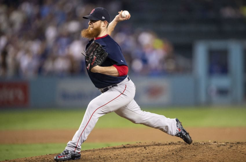 LOS ANGELES, CA - OCTOBER 26: Craig Kimbrel #46 of the Boston Red Sox prepares to pitch during the ninth inning of game three of the 2018 World Series against the Los Angeles Dodgers on October 26, 2018 at Dodger Stadium in Los Angeles, California. (Photo by Billie Weiss/Boston Red Sox/Getty Images)