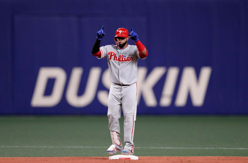 NAGOYA, JAPAN - NOVEMBER 14: Infielder Carlos Santana #41 of the Philadelhia Phillies hits a double in the top of 8th inning during the game five between Japan and MLB All Stars at Nagoya Dome on November 14, 2018 in Nagoya, Aichi, Japan. (Photo by Kiyoshi Ota/Getty Images)