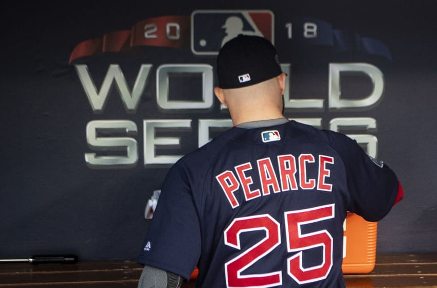 LOS ANGELES, CA - OCTOBER 28: Steve Pearce #25 of the Boston Red Sox looks on in the dugout before game five of the 2018 World Series against the Los Angeles Dodgers on October 28, 2018 at Dodger Stadium in Los Angeles, California. (Photo by Billie Weiss/Boston Red Sox/Getty Images)