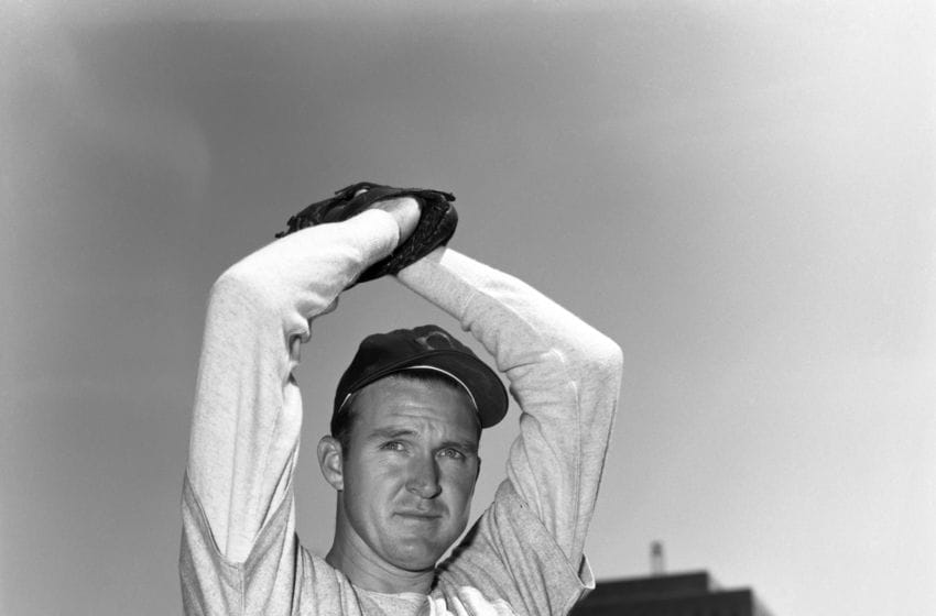 NEW YORK - 1952: Pitcher Lou Brissie #12 of the Cleveland Indians poses for a portrait prior to a game in 1952 against the New York Yankees at Yankee Stadium in New York, New York. (Photo by: Kidwiler Collection/Diamond Images/Getty Images)