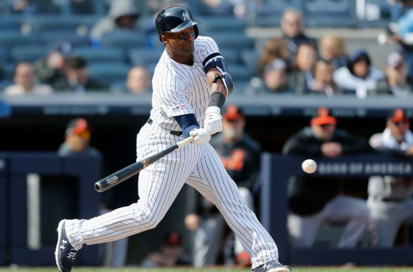 NEW YORK, NY - MARCH 28: (NEW YORK DAILIES OUT) Miguel Andujar #41 of the New York Yankees connects on a seventh inning single against the Baltimore Orioles on Opening Day at Yankee Stadium on March 28, 2019 in the Bronx borough of New York City. The Yankees defeated the Orioles 7-2. (Photo by Jim McIsaac/Getty Images)