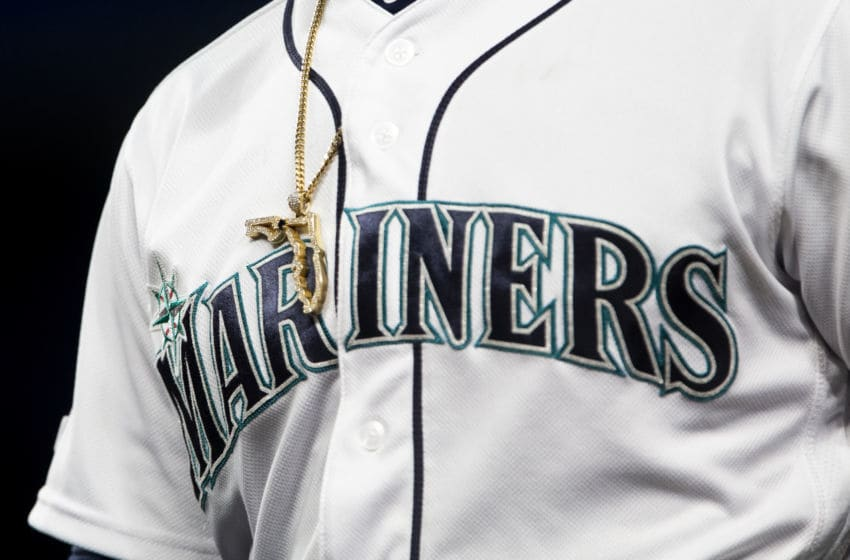 SEATTLE, WA - APRIL 02: A gold Florida necklace sits over the Mariners logo on the jersey of Mallex Smith #0 in the third inning against the Los Angeles Angels of Anaheim at T-Mobile Park on April 2, 2019 in Seattle, Washington. The Seattle Mariners beat the Los Angeles Angels of Anaheim 2-1. (Photo by Lindsey Wasson/Getty Images)