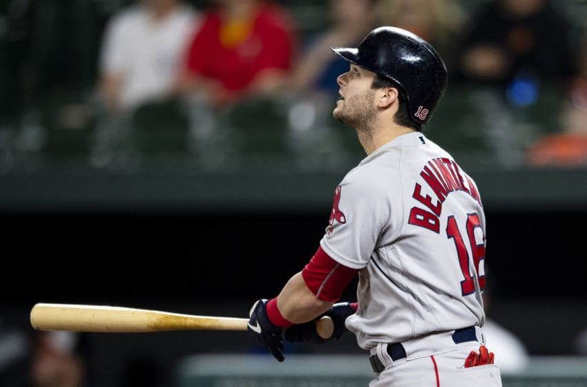 BALTIMORE, MD - MAY 8: Andrew Benintendi #16 of the Boston Red Sox hits a go ahead solo home run. during the twelfth inning of a game against the Baltimore Orioles on May 8, 2019 at Oriole Park at Camden Yards in Baltimore, Maryland. (Photo by Billie Weiss/Boston Red Sox/Getty Images)