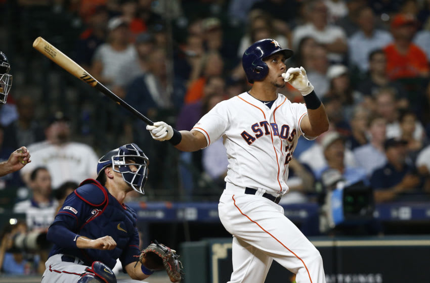 HOUSTON, TEXAS - APRIL 24: Michael Brantley #23 of the Houston Astros hits a two run home run in the third inning against the Minnesota Twins at Minute Maid Park on April 24, 2019 in Houston, Texas. (Photo by Bob Levey/Getty Images)