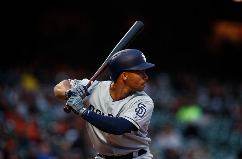 SAN FRANCISCO, CA - APRIL 08: Francisco Mejia #27 of the San Diego Padres at bat against the San Francisco Giants during the second inning at Oracle Park on April 8, 2019 in San Francisco, California. The San Diego Padres defeated the San Francisco Giants 6-5. (Photo by Jason O. Watson/Getty Images)
