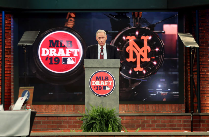SECAUCUS, NJ - JUNE 03: New York Mets team reps Art Shamsky announces the 53rd pick in during the 2019 Major League Baseball Draft at Studio 42 at the MLB Network on Monday, June 3, 2019 in Secaucus, New Jersey. (Photo by Mary DeCicco/MLB via Getty Images)