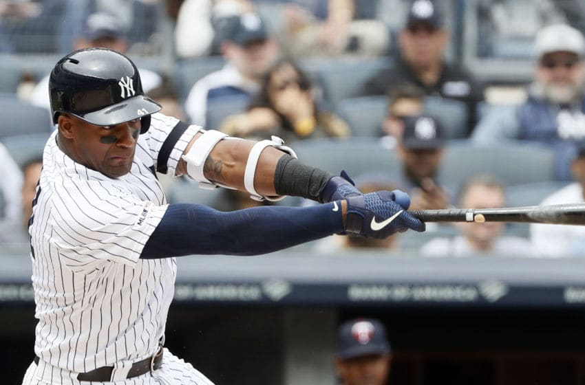NEW YORK, NY - MAY 4: Miguel Andujar #41 of the New York Yankees bats in an MLB baseball game against the Minnesota Twins on May 4, 2019 at Yankee Stadium in the Bronx borough of New York City. Twins won 7-3. (Photo by Paul Bereswill/Getty Images)
