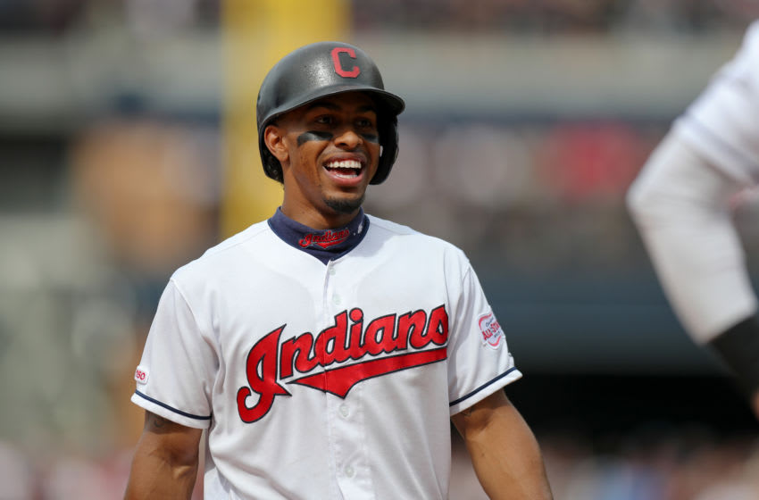 CLEVELAND, OH - JUNE 09: Cleveland Indians shortstop Francisco Lindor (12) reacts after plating the tying run on an error by New York Yankees shortstop Didi Gregorius (18) (not pictured) during the ninth inning of the Major League Baseball game between the New York Yankees and Cleveland Indians on June 9, 2019, at Progressive Field in Cleveland, OH. (Photo by Frank Jansky/Icon Sportswire via Getty Images)