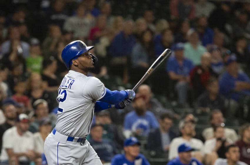SEATTLE, WA - JUNE 17: Jorge Soler #12 of the Kansas City Royals hits a two-run home run to retake the lead over the Seattle Mariners in the eighth inning at T-Mobile Park on June 17, 2019 in Seattle, Washington. (Photo by Lindsey Wasson/Getty Images)