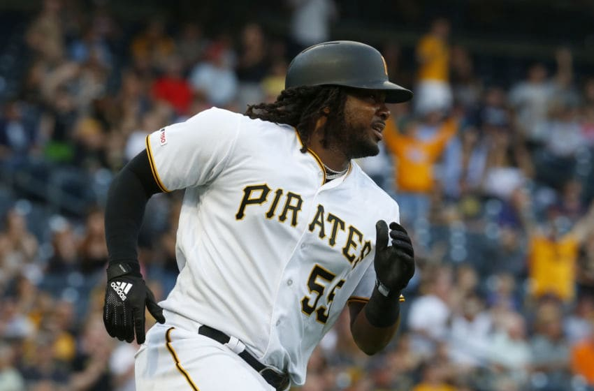 PITTSBURGH, PA - JUNE 18: Josh Bell #55 of the Pittsburgh Pirates watches his second inning home run against the Detroit Tigers during inter-league play at PNC Park on June 18, 2019 in Pittsburgh, Pennsylvania. (Photo by Justin K. Aller/Getty Images)