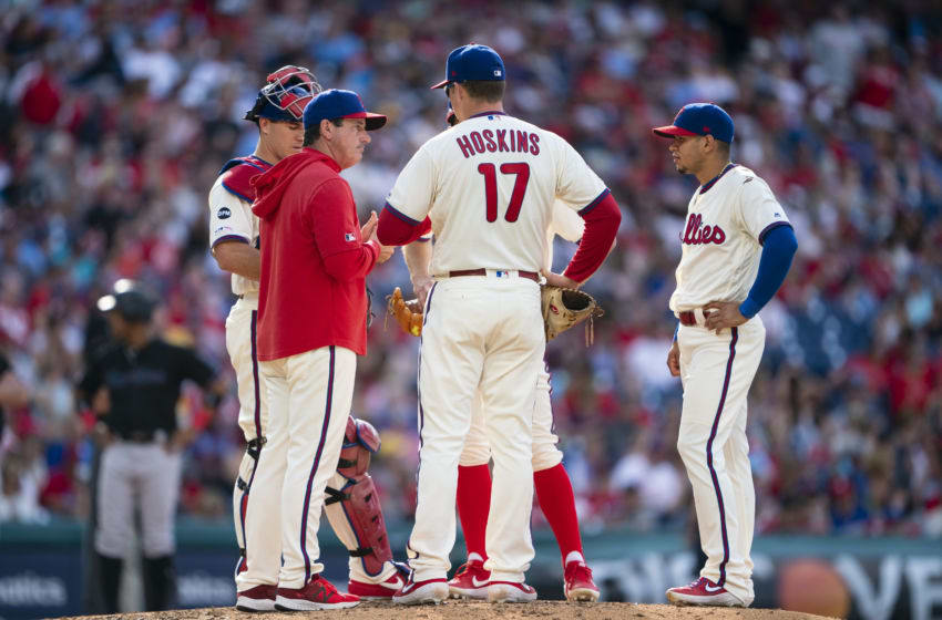 PHILADELPHIA, PA - JUNE 22: Philadelphia Phillies Bench Coach Rob Thomson (59) makes a pitching change during the seventh inning of the game between the Miami Marlins and the Philadelphia Phillies on June 22. 2019, at Citizens Bank Park, Philadelphia PA. (Photo by Gregory Fisher/Icon Sportswire via Getty Images)