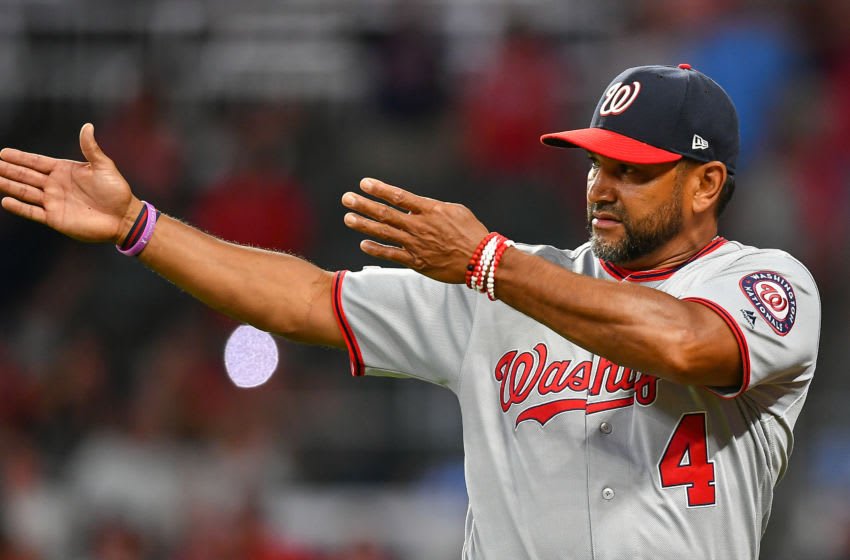 ATLANTA, GA JULY 19: Washington Nationals manager Dave Martinez puts on a defensive shift in the bottom of the 9th inning during the game between the Washington Nationals and the Atlanta Braves on July 19th, 2019 at SunTrust Park in Atlanta, GA. (Photo by Rich von Biberstein/Icon Sportswire via Getty Images)