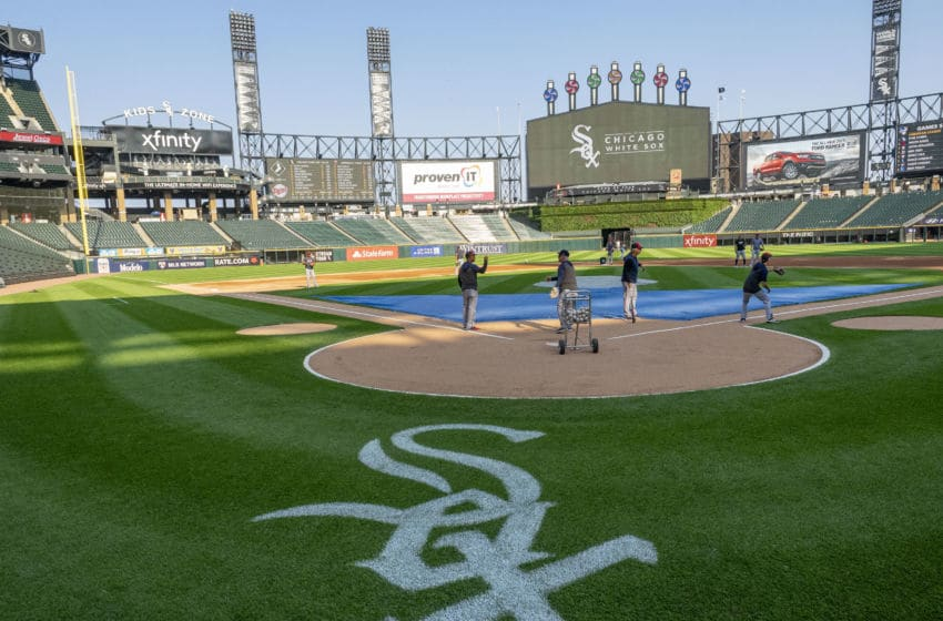 CHICAGO, IL - JULY 25: A view of the Chicago White Sox logo before the MLB regular season game between the Minnesota Twins at the Chicago White Sox on July 25, 2019, at Guaranteed Rate Field in Chicago, IL. (Photo by Joseph Weiser/Icon Sportswire via Getty Images)