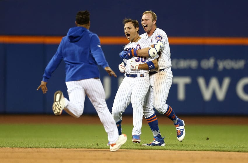 NEW YORK, NEW YORK - AUGUST 09: Michael Conforto #30 of the New York Mets celebrates with Pete Alonso #20 after hitting a walk-off single in the bottom of the ninth inning against the Washington Nationals at Citi Field on August 09, 2019 in New York City. (Photo by Mike Stobe/Getty Images)