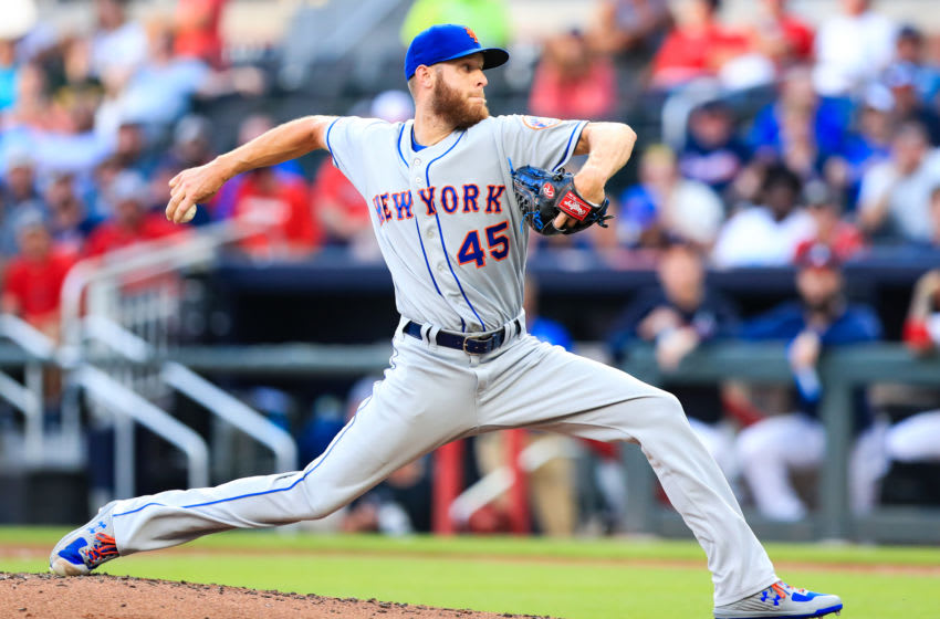 ATLANTA, GA - AUGUST 13: Zack Wheeler #45 of the New York Mets pitches in the first inning during the game against the Atlanta Braves at SunTrust Park on August 13, 2019 in Atlanta, Georgia. (Photo by Carmen Mandato/Getty Images)