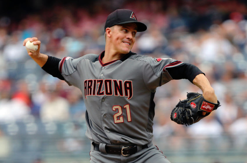 BRONX, NY - JULY 31: Zack Greinke #21 of the Arizona Diamondbacks pitches during a game between the Arizona Diamondbacks and the New York Yankees at Yankee Stadium on Wednesday, July 31, 2019 in the Bronx borough of New York City. (Photo by Lizzy Barrett/MLB Photos via Getty Images)